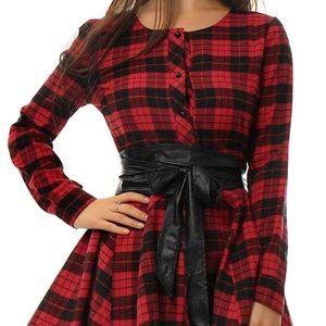 Plaid Long Sleeve Button Down Dress